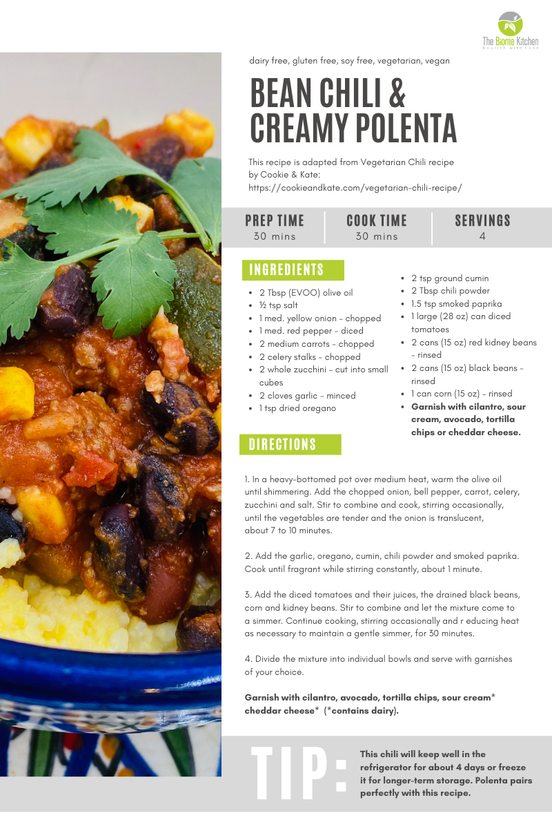 Recipe 1 - BEAN CHILI & CREAMY POLENTA